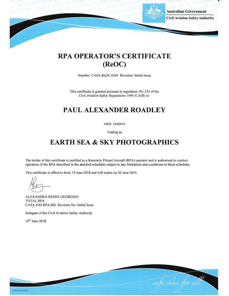 Paul Alexander Roadley trading as Earth Sea and Sky Photographics ReOC_